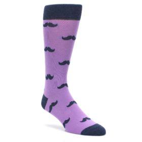 Wisteria Purple and Navy Wedding Groomsmen Mustache Socks