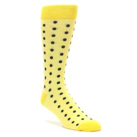 Yellow and Gray Polka Dot Groomsmen Wedding Socks by Statement Sockwear