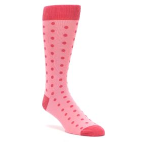 Flamingo Pink and Guava Polka Dot Groomsmen Wedding Socks