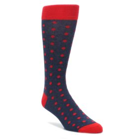 Red and Navy Polka Dot Wedding Groomsmen Socks