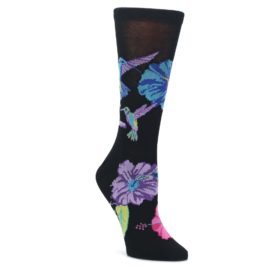 Black-Purple-Blue-Hummingbird-Womens-Dress-Socks-K-Bell-Socks