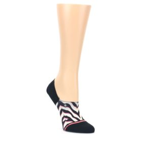 MEDIUM-Black-White-Pink-Zebra-Pattern-Womens-No-Show-Liner-Socks-STANCE
