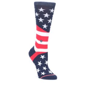 MEDIUM-Pink-Blue-White-American-Flag-Womens-Casual-Sock-STANCE