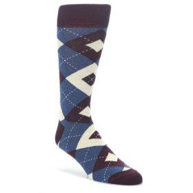 Bordeaux-Champagne-Navy-Argyle-Mens-Dress-Socks-Statement-Sockwear
