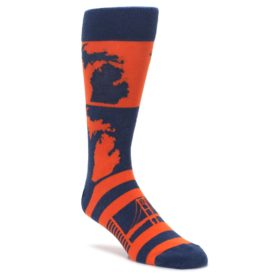 Navy-Orange-Michigan-Mens-Dress-Socks-Statement-Sockwear
