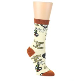Yellow-Brown-Bob-Ross-Happy-Little-Accidents-Womens-Dress-Socks-Oooh-Yeah-Socks