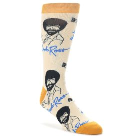 Tan-Gold-Bob-Ross-Signature-Mens-Dress-Socks-Oooh-Yeah-Socks