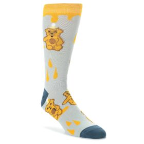 Slate-Gold-Honey-Bear-Mens-Dress-Socks-Oooh-Yeah-Socks