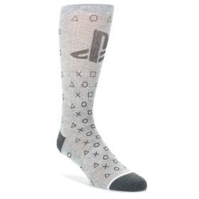 Gray-Black-Playstation-Logo-Mens-Casual-Socks-BIOWORLD