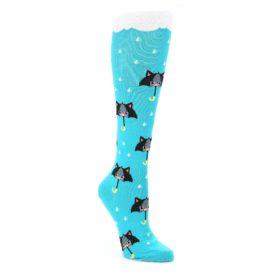 Blue-Black-Umbrella-Cats-Womens-Knee-High-Sock-Sock-It-To-Me
