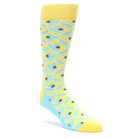 Yellow and Blue Cube Box Optical 3D Men's Dress Socks