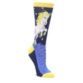 Navy-Yellow-Unicorn-Womens-Dress-Socks-Statement-Sockwear