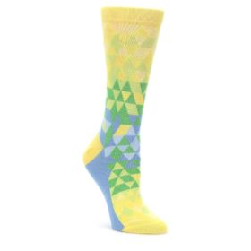 Yellow-Green-Triangle-Geometric-Womens-Dress-Socks-Statement-Sockwear