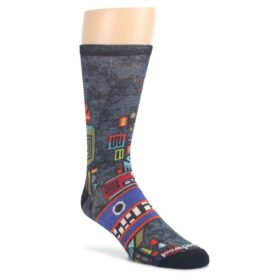 Charcoal-Multicolor-Totem-Monster-Print-Wool-Mens-Casual-Socks-Smartwool