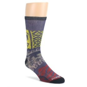 Purple-Multicolor-Tribal-Jaguar-Print-Wool-Mens-Casual-Socks-Smartwool