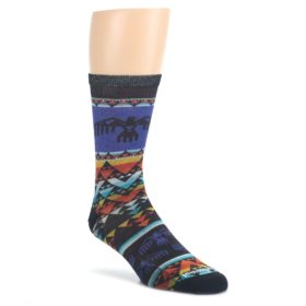 Blue-Multicolor-Bird-Geo-Print-Wool-Mens-Casual-Socks-Smartwool
