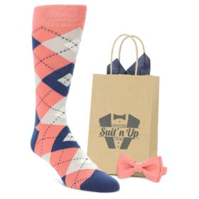 Coral Navy men's dress socks with matching bowtie for groomsmen in wedding