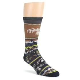Brown-Multicolor-Bird-Geo-Print-Wool-Mens-Casual-Socks-Smartwool