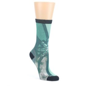 Green-Charcoal-Goldflake-Print-Wool-Womens-Casual-Socks-Smartwool