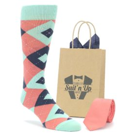 Coral Mint Wedding Groomsmen Socks with Coordinated Necktie
