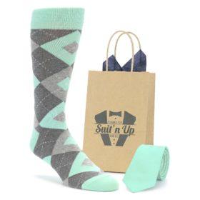 Matching Mint Wedding Groomsmen Socks and Necktie