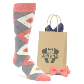 Coral and Gray Argyle Wedding Socks with Bow Tie