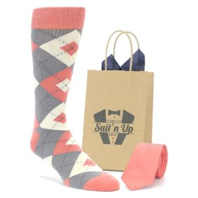 Coral and Gray Groomsmen Wedding Socks with Matching Necktie