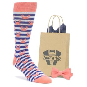 Coral Blue Crab Socks with Matching Bow Tie