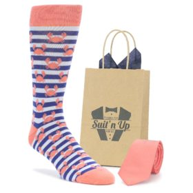 Coral Blue Crab Socks with Matching Coral Tie from Groomsmen in Wedding Party