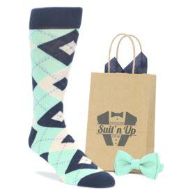 Mint Navy Argyle Groomsmen Wedding Socks with Matching Bowtie