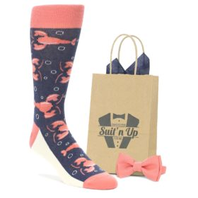 Navy Coral Lobster Wedding Socks with Matching Bow Tie