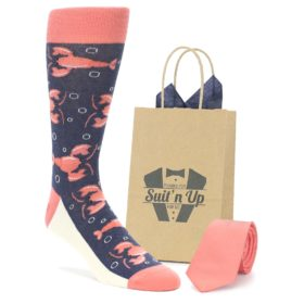 Lobster Socks in Coral with Matching Color Necktie