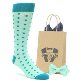 Mint Jade Polka Wedding Groomsmen Socks with Bow Tie