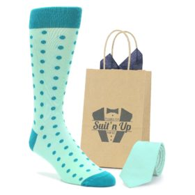 Mint Jade Polka Dot Wedding Groomsmen Socks with Matching Necktie