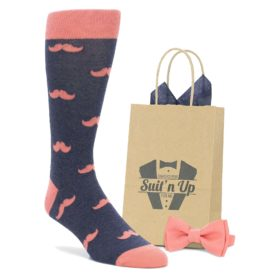 Navy Coral Mustache Socks with Matching Bow Tie