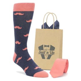 Navy Coral Mustache Socks with Match Coral Necktie