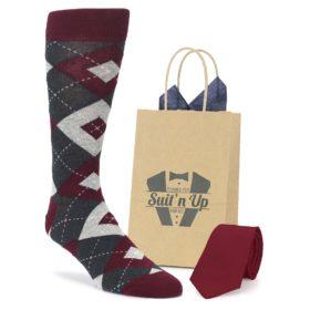 Wine Burgundy Argyle Socks for Groomsmen in Wedding Party with Matching Necktie