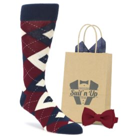 Burgundy Navy Wedding Groomsmen Socks with Matching Bow Tie