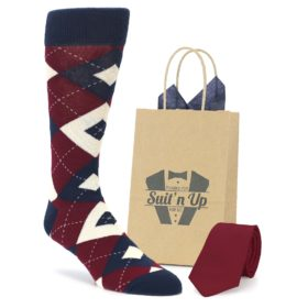 Burgundy Navy Socks with Matching Necktie for Groomsmen in Wedding Party