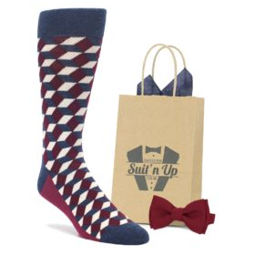 Burgundy Navy Optical Socks with Matching Bow Tie