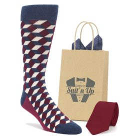 Burgundy Optical Socks with Matching Necktie