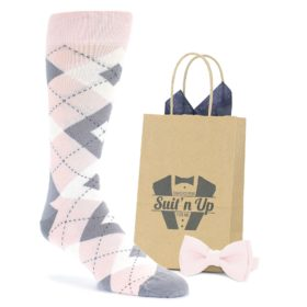 Blush Light Pink Gray Argyle Wedding Groomsmen Socks with Bow Tie