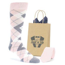 Blush Petal Pink Wedding Groomsmen Socks with Matching Necktie