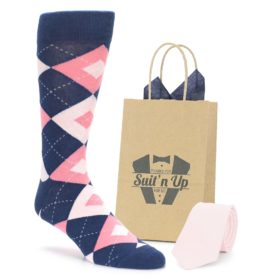 Flamingo Blush Navy Wedding Groomsmen Socks with Matching Necktie