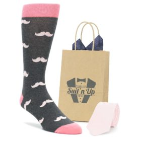 Petal Blush Pink Mustache Socks with Matching Necktie