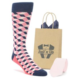 Sock and Bow Tie Combo in Flamingo Pink and Navy