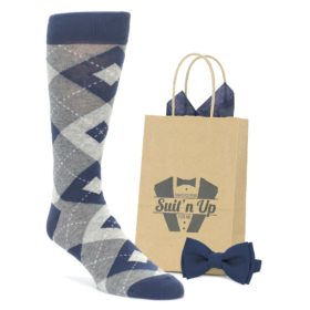 Navy Argyle Socks with Matching Bow Tie