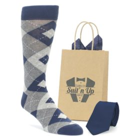 Navy Argyle Socks with Matching Necktie for Groomsmen in Wedding Party