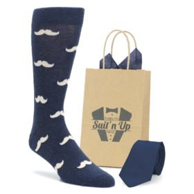 Heathered Navy Mustache Men's Dress Socks with Necktie