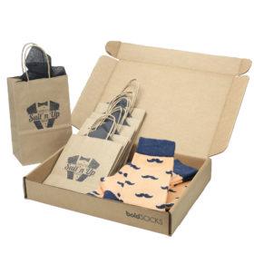 Peach-Navy-Mustache-Men's-Dress-Socks-Statement-Sockwear